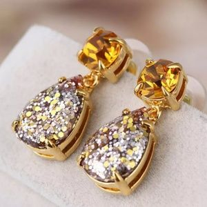 "Kate Spade Gold ""Ginger"" Glitter Crystal Earrings"